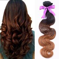 peru saç ürünleri vücut dalgası toptan satış-Perulu Bakire Saç 7A Vücut Dalga Ombre Saç Uzatma 4 adet Üç Ton 1B / 4/30 Bakire Ombre Saç Örgü Işlenmemiş Remy İnsan Saç ürünleri
