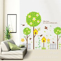 Wholesale Flower Stories - Flowers Ball Wall Art Mural Decal Sticker Our Love is a story without end Wall Quote Decal Sticker Forest Birdcage Wall hanging Poster