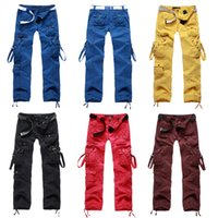 Wholesale Dance Cargo - Womens Clothing Women Lemon Yellow Cargo Pants Mullti Pockets Harem Hip Hop Sports Pants Dance Costume Girls Loose Baggy Trousers 9820