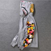 Wholesale fleece button jacket - New Men's clothes hoodies jacket Gray camouflage Shark print men fashion cotton Hooded Sportswear inner fleece hoody sweatshirt