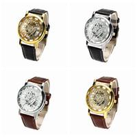 Wholesale Steel Wheel Pc - 50 pcs lot Greek Numerals Dial Watches Cool Men Retro Hollow quartz Watch Leather Vintage Skeleton Wheel Gear Totem Watch