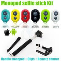selbstklebe-handheld-monopod-cliphalter großhandel-Extendable Handheld selfie Einbeinstativinstallationssätze Haltermonpodstock Bluetooth Fernblendenverschluß Steuerpultclip für andriod Telefon iphone Kamera