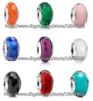 Wholesale European Bead Faceted - 9pcs 925 Sterling Silver Fascinating Faceted Murano Glass Beads Fit European Style Pandora Charm Jewelry Bracelets & Necklaces