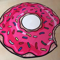 ingrosso arredamento piscina-150 cm Cartoon Hamburger Pizza Tapestry Beach Tiro Grande Rotonda Telo Mare Picnic Mat Piscina Arazzo Decor Yoga Mat Divertente Copert ...