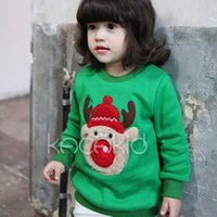 Wholesale Winter Children Sweatshirts Christmas Wapiti Cartoon Toddler Clothing Thicken Plush Linings Round Collar Pullover For Baby Retail K1017