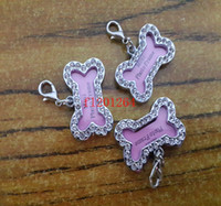 Wholesale Crystal Puppy Collars Free Shipping - 100pcs lot Free Shipping 32x20mm Pet Collar ID Tag Dog Name Tag Rhinestone Bone Shaped Doggie Puppy Crystal Photo Frame