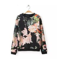 Wholesale Flower Positions - 7985-2014 autumn and winter coat collar women's new positioning printing, cashmere sweater pink large flower Hoodies