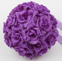 "Wholesale Satin Kissing Balls - Mic New Purple Rose Kissing Ball Wedding Flower Decoration 5"" or 8"" Wedding Bouquet For flower girl"