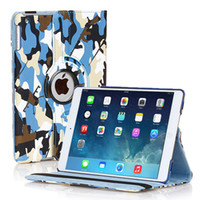 Wholesale Ipad Mini Rotating - Camouflage 360 Degree Rotating Flip Stand PU Leather Stand Case Smart Cover For iPad 2 3 4 5 6 Air Air2 Mini Mini2 Mini3 iPad5 iPad6 iPad2