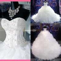 Wholesale Empire Sweetheart Ruffle Wedding Dress - Actual Images Crystals Wedding Dresses 2016 Spring White Sweetheart Beads Sexy Vintage Corset Organza Cathedral Train Plus Size Bridal Gowns