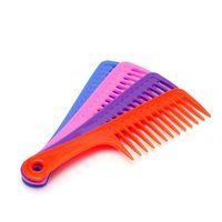 Wholesale Wide Tooth Comb Wholesale - 2Pcs Wide Tooth Handle Hairdressing Salon Antistatic Plastic Hair Comb Detangling