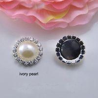 14mm weiße perlen perlen großhandel-Großhandels100pcs 19mm 16mm 14mm Durchmesser Rhinestone-Verschönerungs-Perlen-Korn-Silber-Überzug-flache Rückseite Elfenbein-reine weiße Perle