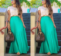 Wholesale Girl S Long Skirt - Pleated Chiffon Long Skirts For Women Fashion Summer High Waist Maxi Skirts Custom Made Green Beach Girls Party Skirt