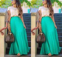 Pleated Chiffon Long Skirts For Women Fashion Summer High Waist Maxi Skirts Custom Made Green Beach Girls Party Skirt