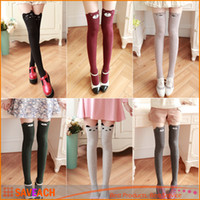 1 Paire Femme Lady Girls Favorite Mignon 3D Cartoon Animal Chat Ours Face Collant Bas Funky Plus Knee Chaussettes Haute