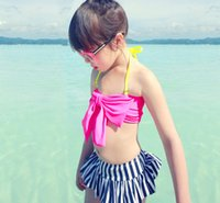 Wholesale bras skirts set - Pink Red girls swimwear hat big bow bikini striped skirt girls bikinis set beach swimsuit bow bikini bra baby swimwear girl free shipping