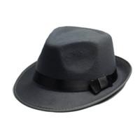 Wholesale elegant hat man - Wholesale-Unisex Men Women Wool Cotton felt fedora hat Cappelli Jazz Felt Floppy Ribbon Band Panama Hat elegant gorras hombre Gangster Cap
