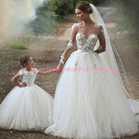 Wholesale Daughter Bride - Arabic Islamic Mother and Daughter Dresses 2015 Puffy Ball Gown Crew Appliques Miniature Brides Plus Size Tulle Skirt Flower Girls Dresses