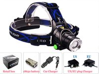 Wholesale Lithium Ion Car - Rechargeable Stretch Fishing light 2000LM Zoom T6 Head Lamp LED Headlamp+2*18650 lithium ion battery+1 *charger+1 *car charger