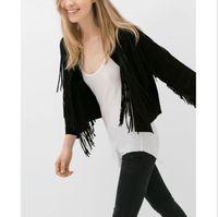 Wholesale Suede Fringe Coat - JQ35 Fashion women Faux Suede Leather Fringe black Jacket short coat long sleeve Cardigan casual slim brand tops chaquetas mujer 2016