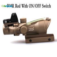 Wholesale Acog 4x32 Rmr - Trijicon ACOG Style 4X32 Tan Real Fiber Optics Green Illuminated Tactical Scope w  RMR ON OFF Switch Red Dot