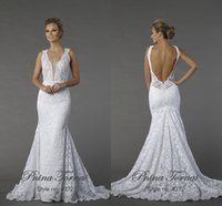 Wholesale Pnina Tornai V Neck Mermaid - 2015 Sexy Backless Lace Mermaid Wedding Dresses White Deep V Neck Sleeveless Sweep Train Lace Bridal Gowns Pnina Tornai Dress Customer Made