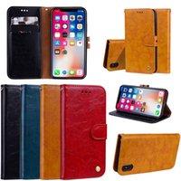 wachs iphone fall großhandel-Für iPhone X Ölwachs Ledertasche mit Kartensteckplatz Flip Stand Case Cover Für iPhone X XS Max XR 8 7 6 Plus 5