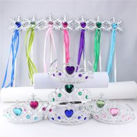 Wholesale 2pcs Set Frozen Jewelry Sets Kit Anna Elsa Crown Magic Wand Masquerade Decorations colors For Kids Princess Modelling Gift