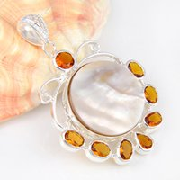 Wholesale Natural Citrine 925 Sterling Silver - 5 Pieces 1 lot Luckyshine Best Wholesale Natural Shell Brazil Citrine Crystal 925 Sterling Silver Russia USA Australia Pendants for necklace
