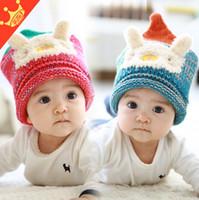 Wholesale Cute Girl 15 Age - 2015 Winter Thicked Children Wollen Hats Cartoon Rabbit Baby Girls Cute Caps Hats For Boys Fit 0-3 Age 15 Pcs lot SS340
