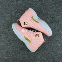 Wholesale Pink Plastic Boxes - Free shipping Air Retro 12 GS Pink Lemonade basketball shoes Womens Pink Lemonade Sneakers [With Box]