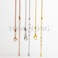 Wholesale Extensions 65cm - 24''+2'' extension (65cm) 2.3mm Silver rose gold chocolate black 316L Stainless Steel Rolo Chain Pendant Necklace