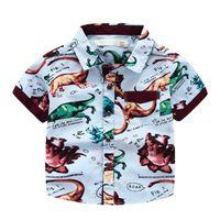 Wholesale Cool Boys Clothing Brands - Cool Brand Boys Dinosaur short sleeve shirt Tops 100% cotton summer Creative shirts boy High quality Kids clothes children clothing