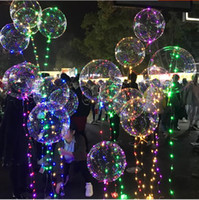 Wholesale Wedding Balloon Ribbon - 2017 Instagram Hot sale led ballons bright bubble light up balloon with sparkle led light ribbon birthday wedding decorations party supplies