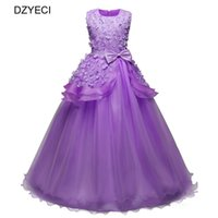 Wholesale teenager pageant dresses - Carnival Costumes For Girl Flower Bow Dresses Teenager Kid Wedding Party Princess Dress Children Bridesmaid Pageant Prom Dress