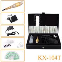 Wholesale Mosaic Tattoo Needles - New Style KX-104T Permanent Makeup Eyebrow Tattoo Mosaic Machine Kit Cosmetic Pen Pedal Needles Tips Power Supply Free Shipping