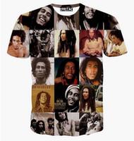 Wholesale Bob Marley T Shirts - 2015 New harajuku Summer style women men Bob Marley print 3d hip hop fashion t shirt emoji short sleeve top shirts Wholesale
