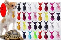 Wholesale Ems Bow Tie - 500pcs EMS shipping Fashion solid color Polyester Silk Pet Dog Necktie Adjustable Handsome Bow Tie Necktie Grooming Supplies W02