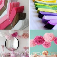 Wholesale Decorative Christmas Flowers - 8 12 inch 14Multi Colors Wedding Paper Flowers Ceremony Decorations For Paper Poms Wedding Birthday Valentine's Day Giant Crafts Pom Poms