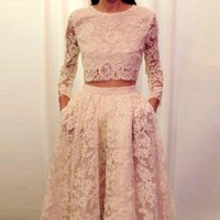 cropped top lace sleeve Canada - Quality Lace Two Pieces Evening Dresses Real Photo Long sleeves Lace Prom Dress Lady Formal Party Gowns vestidos de festa Crop Top