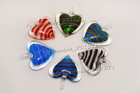 Wholesale Murano Multi Color Necklace - Heart Multi-Color Lampwork Murano Glass Pendants Stripe Necklaces Wholesale Retail FREE #pdt165