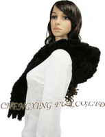 Wholesale Rabbit Fur Scarves Caps - Wholesale-FREE SHIPPING CX-C-05A Genuine Rabbit Fur Hooded Scarf Hat ~ DROP SHIPPING