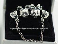 Wholesale Murano Boxes Sets - 925 Sterling Silver Charms and Murano Glass Bead Set with Charm Box Fits European Pandora Jewelry Charm Bracelets -Mickey Minnie Sets