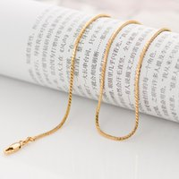 Wholesale Thin Pendants For Necklaces Wholesale - chain Classic long 60cm thin round snake gold chain for men women 1.3mm 7.2 grams 18K yellow gold filled pendant necklace