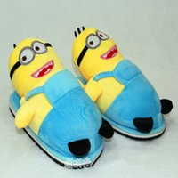 Wholesale Despicable Stuffed - Wholesale-Despicable Me Daddy Thief Little Yellow People 3D Half A Pack Stuffed Cotton Slippers Warm Indoor Slippers CSM9163
