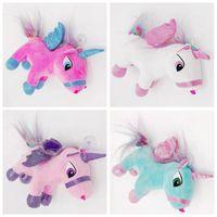 Wholesale Cartoon Pendent - 4 Colors 20cm Creative Unicorn Doll Cute Unicorn Plush Toy Cartoon Unicorn Pendent Cartoon Accessories Kids Xmas Gifts CCA8325 100pcs