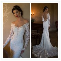 Wholesale Bride Dresses Open Back Mermaid - Sexy Berta 2015 Mermaid Beaded Appliqued Lace Long Sleeves Bridal Gowns with Off Shoulder and Open Back Bride Dress SX009
