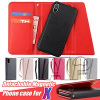 Wholesale Wholesale Iphone Phone Snap - Premium luxury phone case For iphone X 8 7 6s plus Detachable Magnetic Snap-on PU Leather Wallet Cases Card Slot Flip Cases Cover