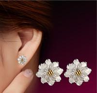 Wholesale Summer Studs Earrings - 2016 Hot sell 925 sterling silver cozy small fresh lotus earrings hypoallergenic Summer Style ear jewelry