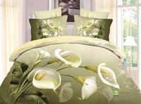 Wholesale Calla Lily Bedding - Wholesale-3d Calla lily bedding set duvet cover bedsheet pillowcase 4pcs bed sets,olive green color bed in a bag,Cotton fabric